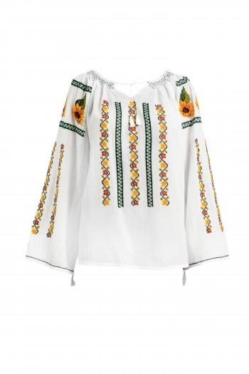 Ie Traditionala Romaneasca Maneca Lunga Motivul Floarea Soarelui