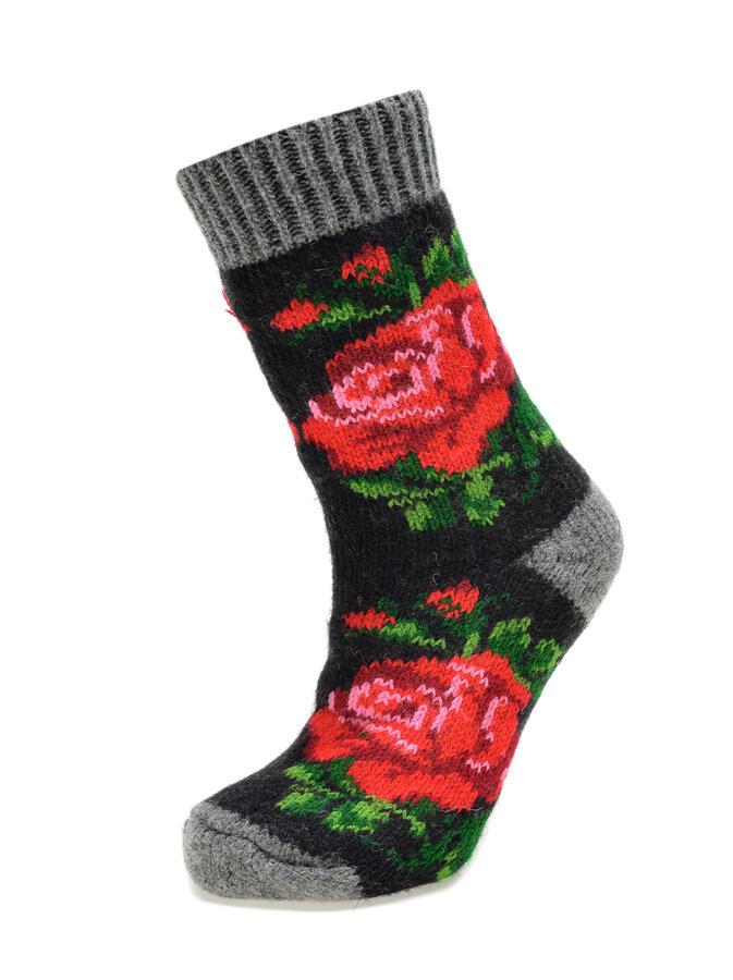 Sosete Negre din Lana cu Trandafiri Rosii