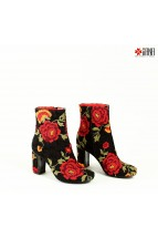 Botine Brodate cu Trandafiri din Piele Naturala si Dantela Colectia d`Alexandru for Iiana