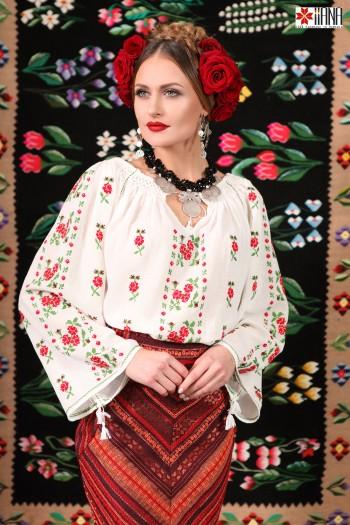 Ie Traditionala Romaneasca Maneca Lunga Cusuta Manual Motivul Trandafir