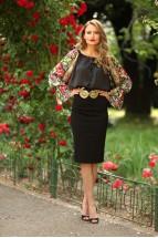 Bluza Ie Stilizata Urbana cu Motive Florale Romanesti