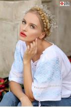 Ie Tradițională Românească Mânecă Scurtă Cusută Manual Motivul Altiță Bleu