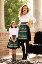 Fusta Semiclos cu Oprege Pentru Fetita Smarald Stilizata cu Motive Traditionale
