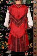 Vesta Populara Dama Etno Pasiune cu Franjuri si Ciucuri Rosii