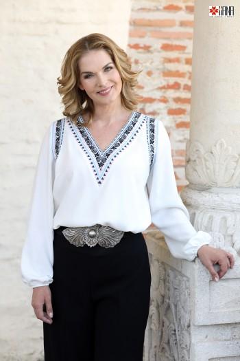 Bluza Stilizata Modern Vest Tip Ie cu Motive Florale și Geometrice