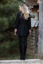 Jachetă  Neagră Tip Redingotă cu Broderie de Mătase