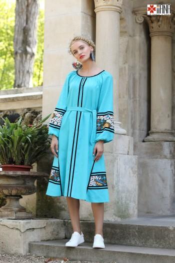 Rochie din In Tatyana Midi Bleu cu Motive Romanesti